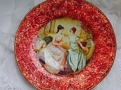 Декор тарелки в технике обратный декупаж,кракелюр,золочение | Ярмарка Мастеров - ручная работа, handmade