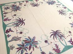 Vintage Florida tablecloth 1930s art deco palm by 3floridagirls