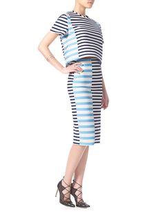 Blue Stripe Scuba Bora Top Tanya Taylor