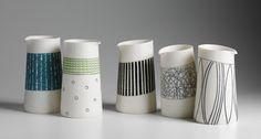 Lara Scobie - Lara concentrates on the theme of balance through her composition and form. By adding drawing and mark making to the clay, Lara takes this idea further by playing with colour and pattern in order to shift the balance around an object.