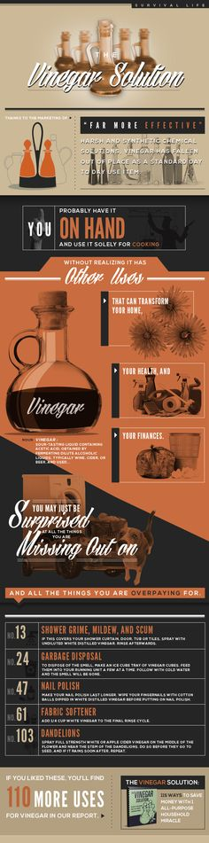 Vinegar Can Do What? | Survival Prepping Ideas, Survival Gear, Skills & Emergency Preparedness Tips - Survival Life Blog: survivallife.com #survivallife #survival #prepping