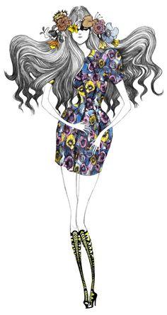 Balenciaga  by Laura Laine #illustration #fashion #flowers