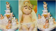 tutorial baptism christening cake topper fondant sugar paste torta batte...