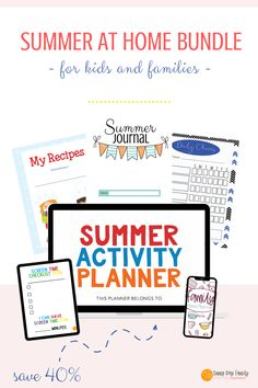 The ultimate toolbox for families staying home this summer! Get everything you need for summer activities at home, a summer journal for kids, meal planning, chore chart, screen time checklist and more! Summer Fun For Kids, Summer Activities For Kids, Easy Summer Meals, Summer Recipes, Family Meal Planner, Family Chore Charts, Summer Journal, Kids Schedule, Perfect Planner
