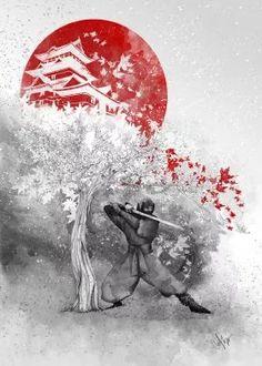 steel canvas Illustration ninja warrior wind