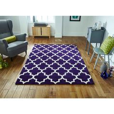 Made with wool and viscose, this Arabesque purple rug is a soft, comfortable and excellent addition to your floor decor. #modernrugs #purplerugs #durablerugs #woolrugs