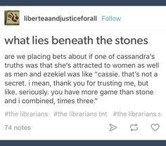 The Librarians; Ezekiel Jones; Cassandra Cillian