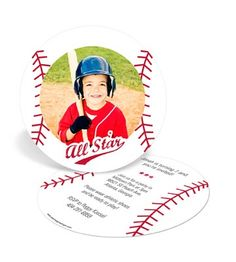 Kids Birthday Invitations -- Baseball All Star