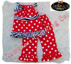 Custom Boutique Clothing Red N' Funky Zebra by ZamakerrClothingCo, $40.99