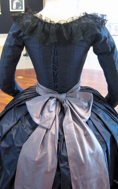 Back of mourning gown showing lacing, lovely lace trim and big bow - from the 2006 Marie Antoinette Movie with Kirsten Dunst.
