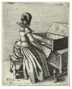 """Wenceslas Hollar, 1635 """"Woman playing a clavichord"""""""