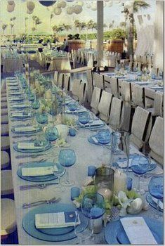 Wedding, Reception, Decor, Blue, Beach, Aqua, Glass
