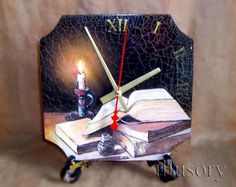 Часы «Горящая свеча» http://dcpg.ru/mclasses/clock-flame/ #decoupage #art #craft #handmade #tutorial #DIY do it yourself