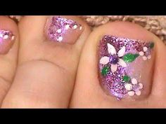 Purple Glitter Finger & Toe Nail Art Design Combo
