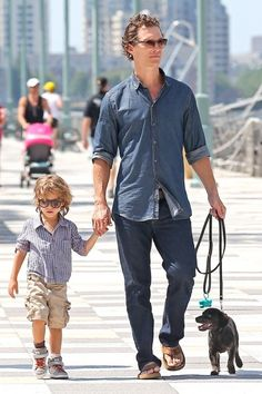 Matthew McConahey with son Levi and pup
