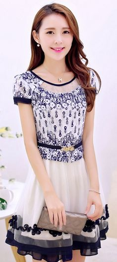 Cute Chiffon Embroidered Dress with Layered Skirt YRB0690