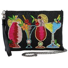 Drinks on Me Embellished Leather Cocktails Crossbody Wristlet Zip Top Handbag from Designer Mary Frances. o Refreshing! This fun black clutch/ crossbody is embellished with colorful details. Beach party or date night perfect! We'll put it on your tab! Beaded Clutch, Beaded Bags, Embellished Shoes, Cocktail Theme, Me Bag, Mary Frances, Thing 1, Hang Ten, Pocket Pattern