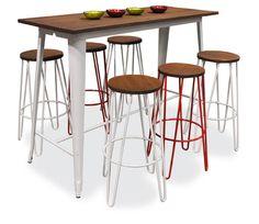 Replica Tolix Wooden Top Long Bar Table
