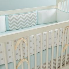 Taupe Zig Zag Crib Bumper with Accent Strips | Carousel Designs