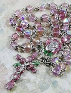 Czech Fire Polished Aurora Borealis Crystal    Rose Petals Pewter Rosary