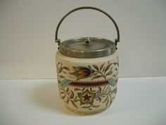 Antique Taylor Tunnicliffe Porcelain Biscuit Jar Late 1880s Silver Plate Lid