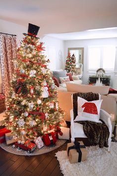 Balsam Hill, Blue Spruce Flip Tree - Decorated in Classic Christmas Red, Snowmen, Snowflakes and Red & Black Buffalo Plaid Ribbons www.foxhollowcottage.com