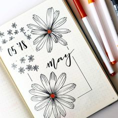 Bullet journal monthly cover page, May cover page, flower drawing, Daisy drawings, hand lettering. | @ancagvbulletjournal