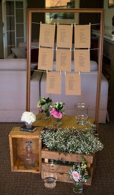 Naomi Rose Floral Design | Vintage wedding | Vintage seating chart | Large frame | Vintage vessels | Timber crates