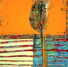 """arbor-brush-2013 by (c) Barbara Gilhooly 6"""" x 6"""" acrylic, ink, carved drawing on birch http://www.flickr.com/photos/gilhooly_studio/8575654070/in/photostream"""