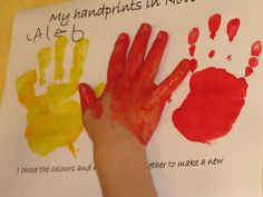 Hand print color mixing