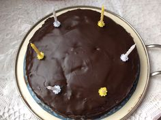 Sacher Cake with birthday candles