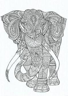 Elephant Abstract Doodle Zentangle ZenDoodle Paisley Coloring pages colouring adult detailed advanced printable Kleuren voor volwassenen coloriage pour adulte anti-stress kleurplaat voor volwassenen