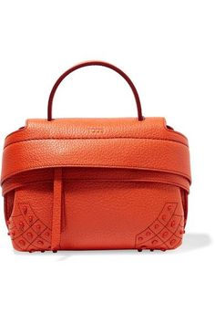 Orange textured-leather (Calf) Zip-fastening front flap  Weighs approximately 2lbs/ 0.9kg Made in Italy