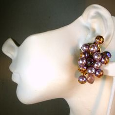 Lavender Pearl Clip Cluster Earrings 1960s On by VintageStarrBeads