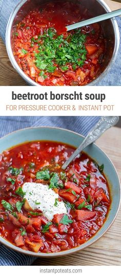 Ukrainian Borscht - Instant Pot pressure cooker recipe (Vegetarian, Paleo, Gluten-Free, Vegan and Whole30 if you omit the sour cream.