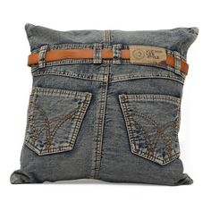 The Jean cushion is an eye catcher. Sewn from recycled denim with a jaunty belt to tie the look together. If you ever wanted your favorite jeans to reincarnate as a cushion, rejoice. Special Features: