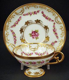 Antique Dresden Demitasse Pedestal Cup & Saucer Hand Painted with Tiny Garlands of Red Roses & Gold Gilding, pre 1900