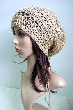 """Just pop this beret slouch hat over any type of hair style and enjoy the slouchy look in the back or for those days when you are not in the mood to fix your hair. It is light and comfortable.  Suitable for adult.  Measurement: Head opening: 22"""" / 56 cm From tip to band : 10"""" / 25.5 cm Crocheted string to tie to make tighter (behind) : 42"""" / 106.5 cm  Material: Light Brown-soft acrylic yarn   To purchase please visit: www.cinnamonyarn.etsy.com  Thanks"""
