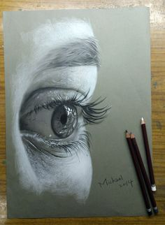 THE EYE by Michael-Chiu-2013,using White, Grey and Black color pencils on A3 size tone paper
