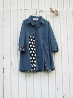 upcycled blue and polkadot Tunic / romantic Upcycled by CreoleSha by suzette