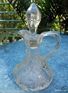 Rare 1907 EAPG Late Butterfly Clear Cruet Indiana Glass with Stopper