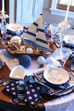 "ARRRRRR MATEY!   Today's table sends us sailing to sandy shell covered beaches, and clear blue waters! So, hoist up those white sails and lets move on the salty sea breeze!  A nautical themed tablescape is the Capt'n Special for today! August is ""beach"" month to me. When the heat and humidity get to much more »"