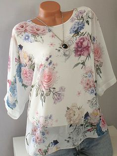 Round Neck Loose Fitting Print Short Sleeve T-Shirts - Moda daily Floral Blouse, Floral Tops, Cheap Womens Tops, Trendy Tops, Plus Size Blouses, Printed Shorts, Short Sleeve Blouse, Half Sleeves, Blouses For Women