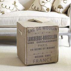 ahhh! why didn't i make this for the ottoman?? Moulin Burlap Cube | Ballard Designs