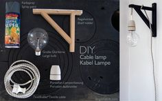 """Materials: Valter Shelf Holder, Textile Cable, Porcelain Bulb Holder, Large Bulb, Spray Paint Description: Cable Lamp from a Valter shelf holder. I wanted two wall lamps for our living room. I really like the simple cable lamps with large bulbs. Clean design but also a little bit """"rustic-style"""". And it's not too difficult to make [&hellip"""
