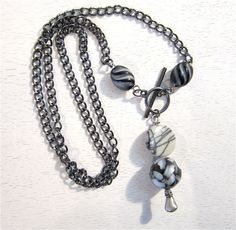 Black and white bead necklace. $22.00, via Etsy.