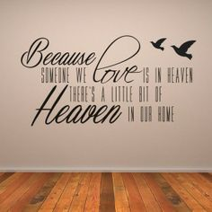 Christian Wall Stickers Quotes  Because Someone We Love Is In Heaven Wall Art Religious Wall Sticker