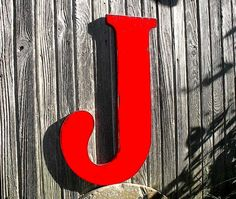 Shabby chic Rustic Wooden Red Wall Letter J 24 by LettersofWood, $59.00