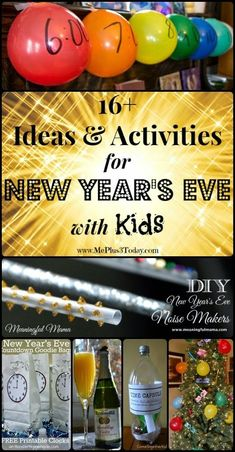 Ideas & Activities for New Year's Eve with Kids - Wow! So many AWESOME things to make NYE special for parents and children! Midnight New Year's Eve Party Celebration at Home with the Family New Years With Kids, Kids New Years Eve, New Years Party, New Years Eve Party Ideas For Family, New Year's Eve Activities, New Year's Eve Crafts, New Year's Games, Eve Game, Nye Party