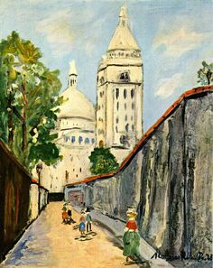 Basilica Painting By Maurice Utrillo - Reproduction Gallery Renoir, Maurice Utrillo, Georges Seurat, Post Impressionism, Art Database, Oil Painting Reproductions, Art For Art Sake, French Artists, Urban Landscape